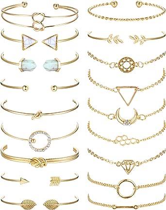 SAILIMUE 18Pcs Multiple Layered Stackable Bracelets for Women Open Cuff Wrap Bangle Bracelet Set Gold Olive Leaf Arrow Feather Knot Bracelets Jewelry Adjustable