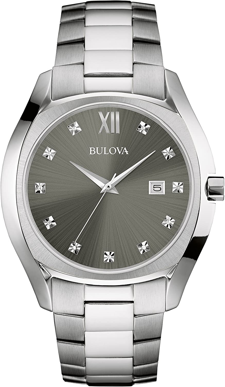 Bulova Men s Quartz Stainless Steel Dress Watch, Color Silver-Toned Model 96D122