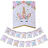 AMZTM Unicorn Happy Birthday Bunting Banner Rainbow Unicorn Themed Party Decoration For Cute Fantasy Fairy Girls Birthday Baby Shower Party Supplies