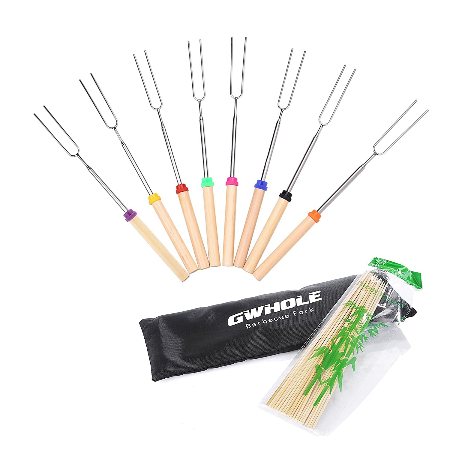 GWHOLE Extendable Marshmallow Roasting Sticks BBQ Forks 31-82cm with Bamboo Sticks and Canvas Pouch, Set of 8 [One Year Warranty]