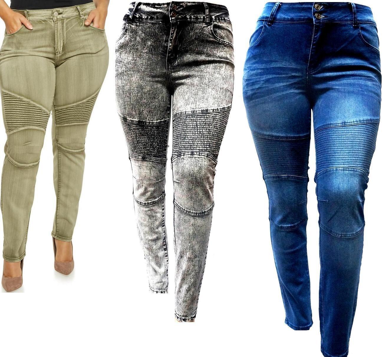 0f36a4f424d8a Jack david Women s Plus Size Moto Biker Stretch Skinny Denim Jeans ...