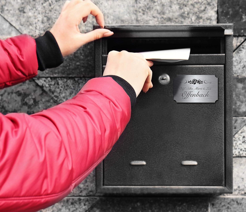 Edelstahl T/ürschild mit Gravur Namensschilder Briefkastenschild selbstklebend oder blanko 12x7,5 cm mehr als 80 Motive Klingelschild//T/ürschild f/ür die Haust/ür mit Namen selbst gestalten