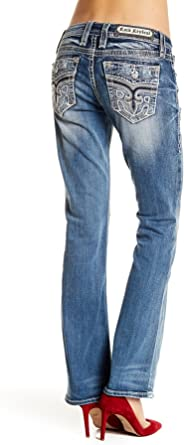 Rock Revival Womens Luz Crystal Embellished Boot Cut Jeans