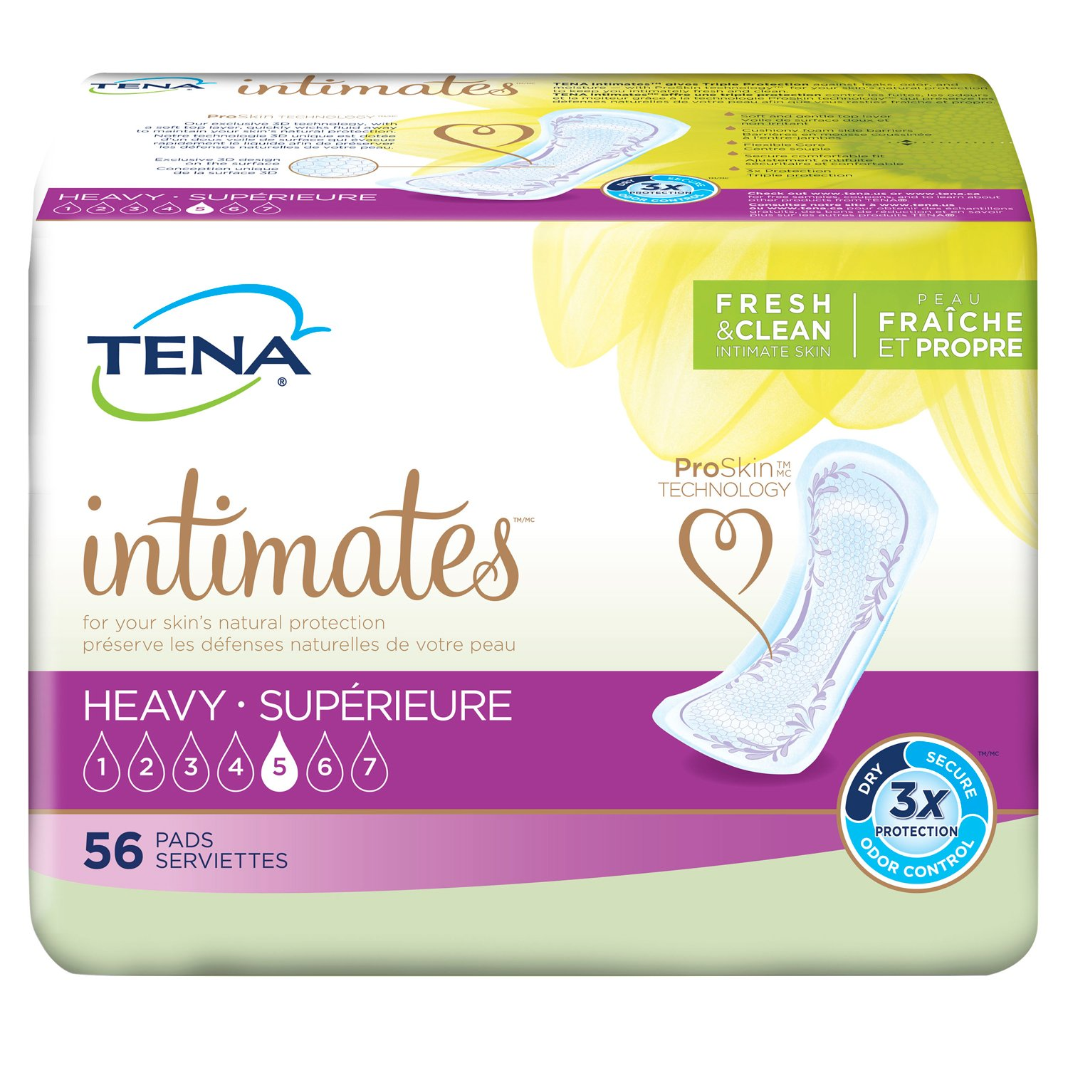 TENA Incontinence Pads for Women, Heavy, Regular, 56 Count