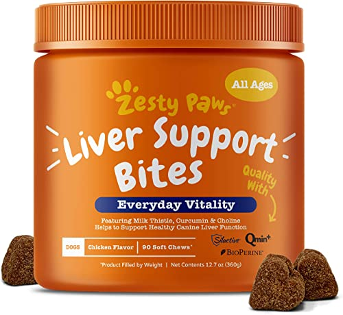 Zesty Paws Liver Support Supplement for Dogs – with Milk Thistle Extract, Turmeric Curcumin, Cranberry Choline – Natural Grain Free Soft Chew Formula – for Dog Liver Function Detox