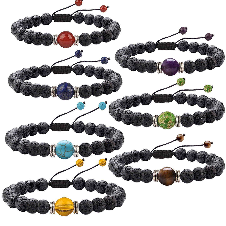 J. Fée 7 Pack 7 Chakras Gemstone Bracelet Men&Women Lava Stretch Bracelet - 7 Pack Bracelets Series …