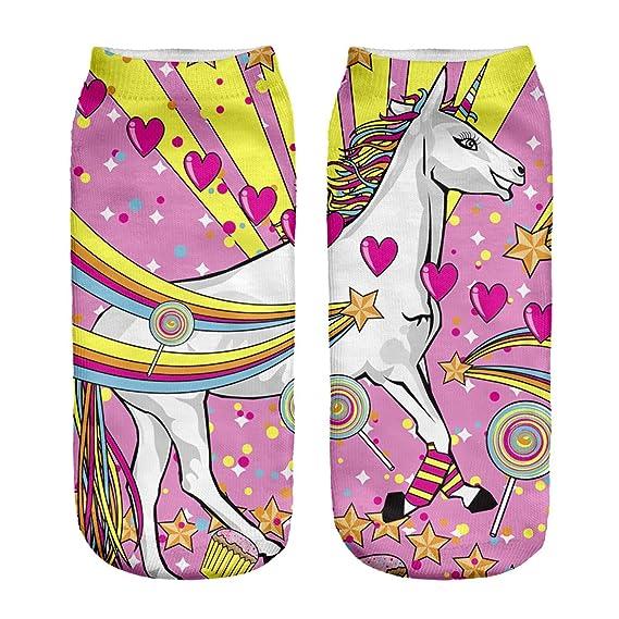 Samdyet - Calcetines cortos - para mujer Candy Unicorn