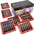 ARTEZA Acrylic Paint, Set of 60 Colors/Tubes (22 Ml, 0.74 Oz.) Art Supplies Paint Set, Rich Pigments, Non Fading, Non Toxic Paints for Artist, Hobby Painters & Kids, Ideal for Canvas Painting