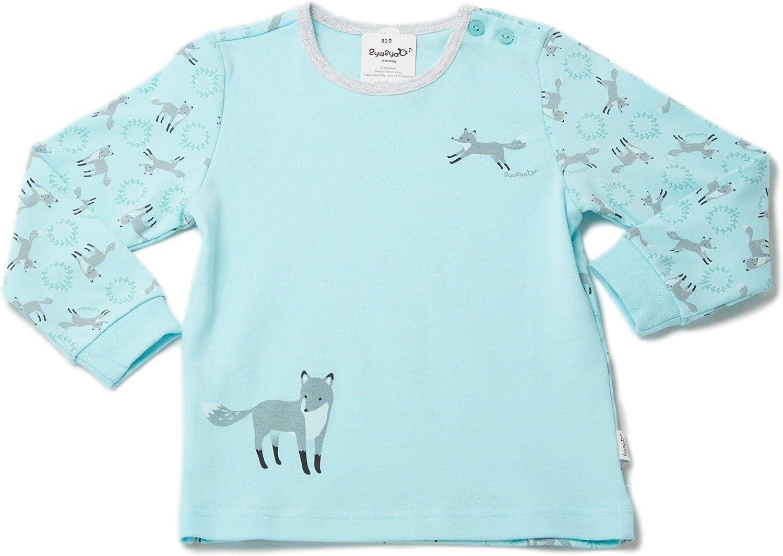 2Ya2YaO Korean Cotton Grey Fox Baby 2 Piece Sleepwear Pajamas Set Mint