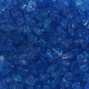 Miniature Fairy Garden Mirror Glass Pebble Aggregates Crystal Sand River Rock 50-60g Ocean Deep Blue for Aquarium Fish Tank Decorations, Fantastic Garden or Yard, Resin Making Jewel Crafting Project