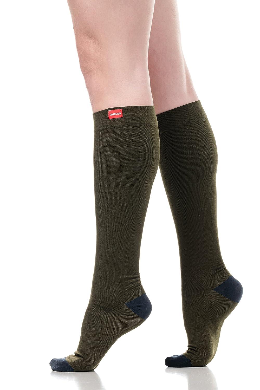 fc833ab248 Amazon.com: VIM & VIGR Women's 15-20 mmHg Compression Socks: Two-Toned -  Olive & Navy (Moisture-Wick Nylon) (Small): Clothing