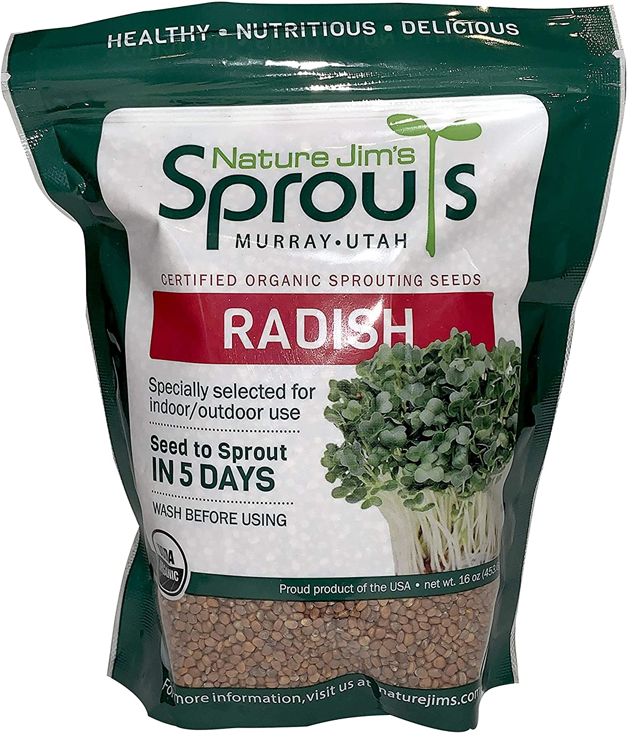 Nature Jims Radish Sprout Seeds – 16Oz Organic Sprouting Seeds – Non-GMO Premium Radish Seeds – Resealable Bag for Longer Freshness – Rich in Vitamins, Minerals, Fiber