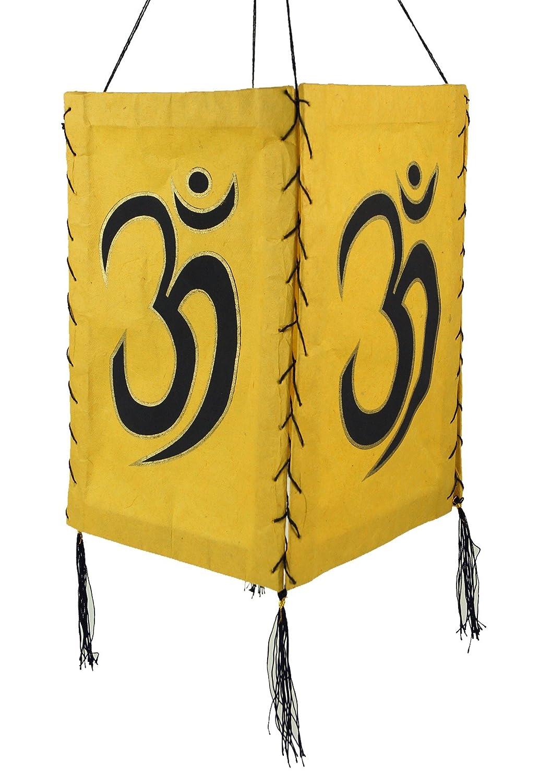 Guru-Shop Lokta Papier Hänge-Lampenschirm, Deckenleuchte aus Handgeschöpftem Papier - Om Weiß, Lokta-Papier, 28x18x18 cm, Papierlampenschirme Quadratisch