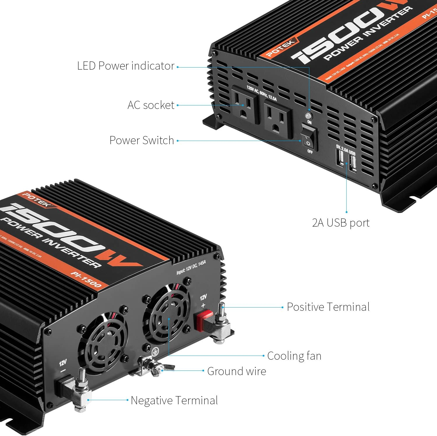 POTEK 1500W Power Inverter Dual AC Outlets DC 12V to 110VAC Car Inverter with 2 USB Ports