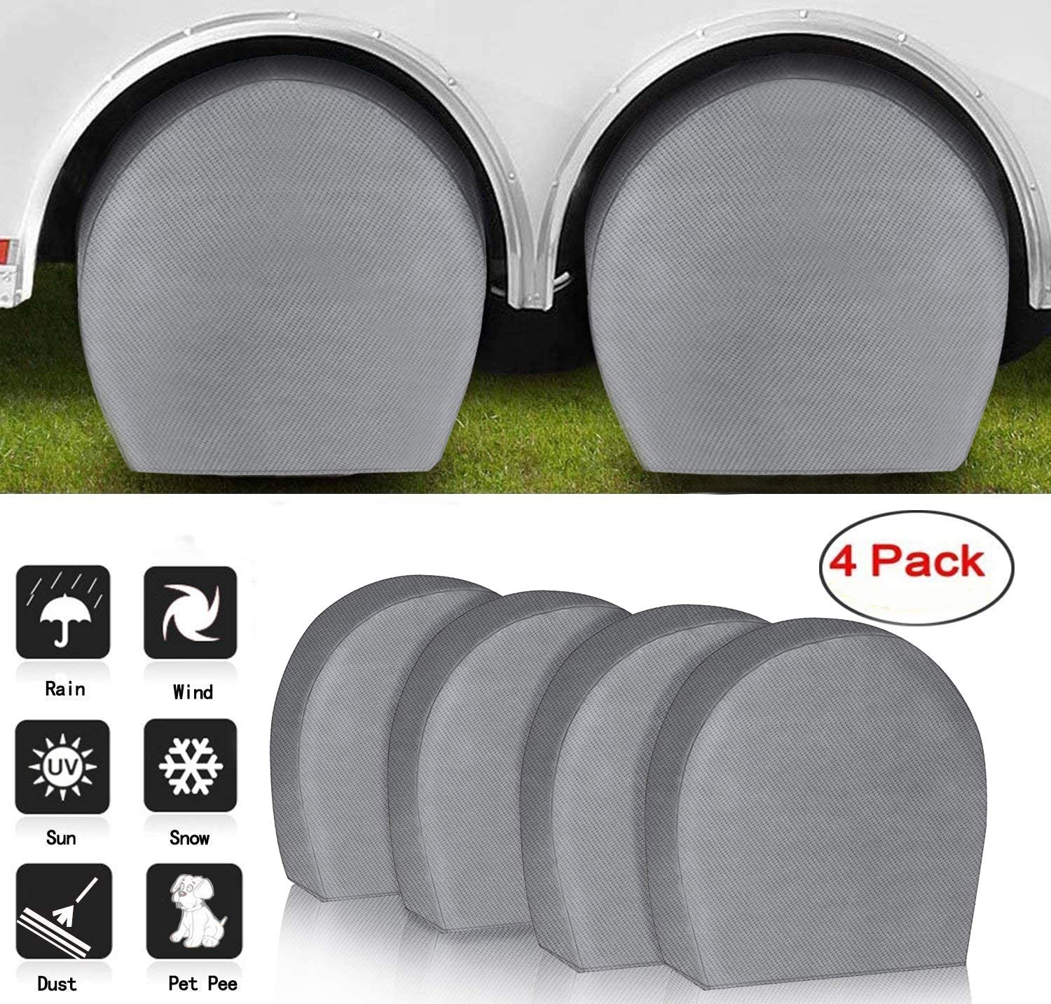 "ACUMSTE Set of 4 RV Tire Covers, Tire Covers for RV Wheel Motorhome Wheel Covers Waterproof UV Coating Tire Protectors for Trailer Truck Camper Auto Fits 29"" - 32"" Tire Diameters"