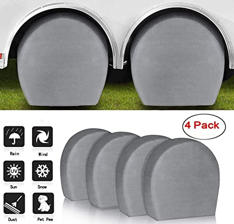 Waterproof UV Coating Tire Protectors for Trailer Truck Camper Auto RVMasking Tire Covers for RV Wheel Set of 4 Extra Thick 5-ply Motorhome Wheel Covers Fits 29-31.75 Tire Diameters