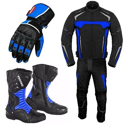 VASTER Traje de moto con botas de cuero para motocicleta ...