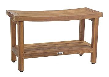 Sumba 30u0026quot; Teak Shower Bench With Shelf