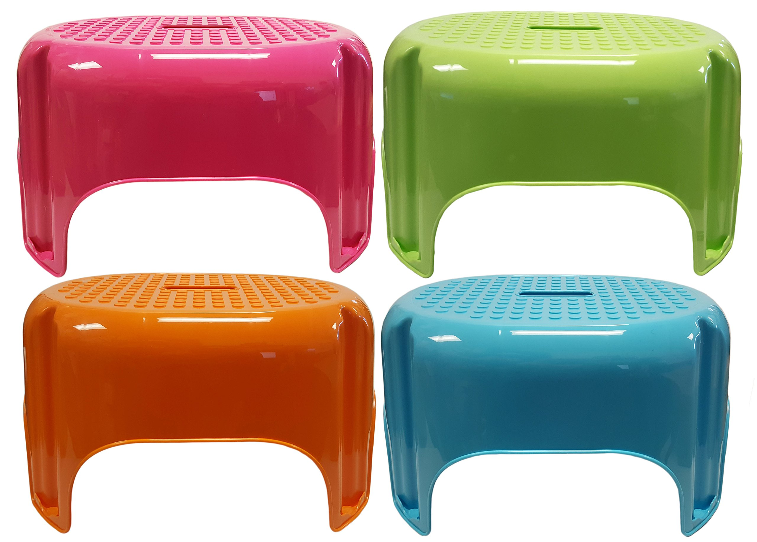 Set of 4 Large Black Duck Brand Step Stools - BPA FREE - 9.5''x17'' - 4 Bright Beautiful Colors - Top Quality (Pink, Blue, Green, Orange)