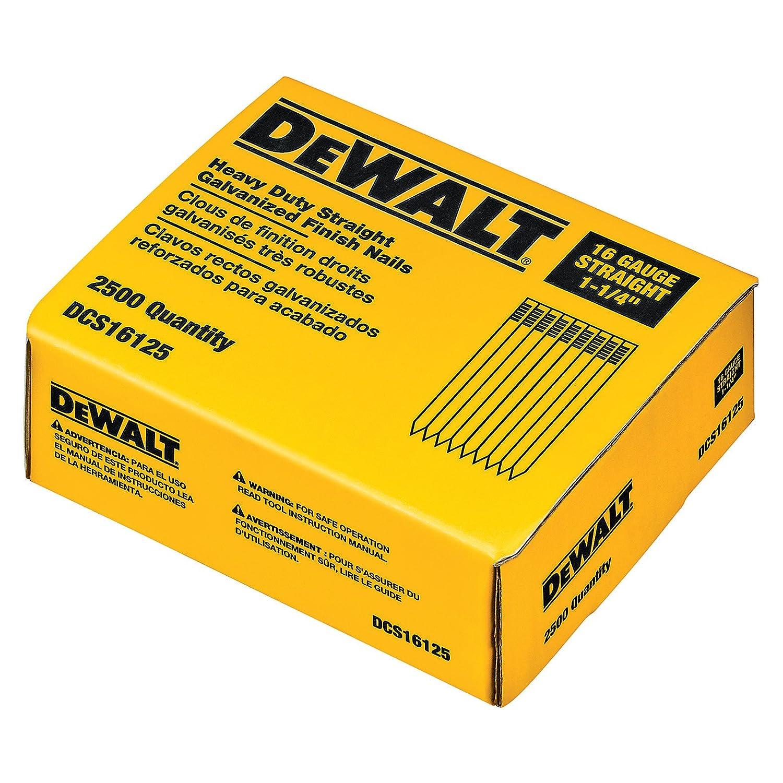 DEWALT DCS16125 1-1/4-Inch by 16 Gauge Finish Nail (2,500 per Box)