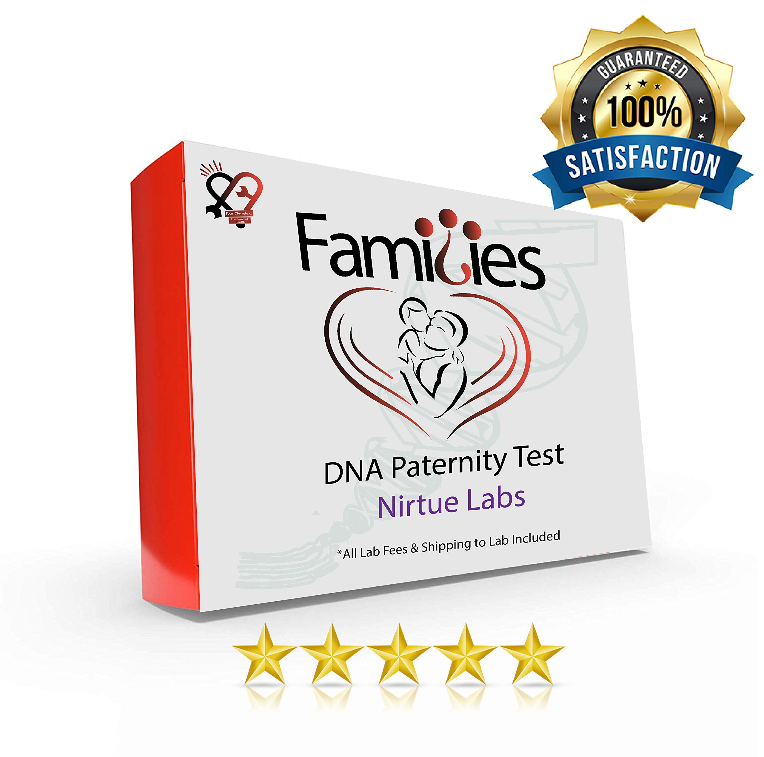At Home DNA Paternity (Father) Test Kit - Includes All Lab Fees! | Greatest Accuracy (Next Gen) Guaranteed | Simple, Results to 100% Accuracy in The Privacy of Your Home! for 2-Person Analysis by Nirtue Labs