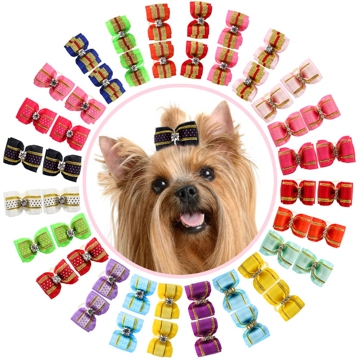 Doggy Kitty Topknot Grooming Accessories Set for Long Hair Puppy Cat YOY Adorable Grosgrain Ribbon Pet Dog Hair Bows with Elastic Rubber Bands