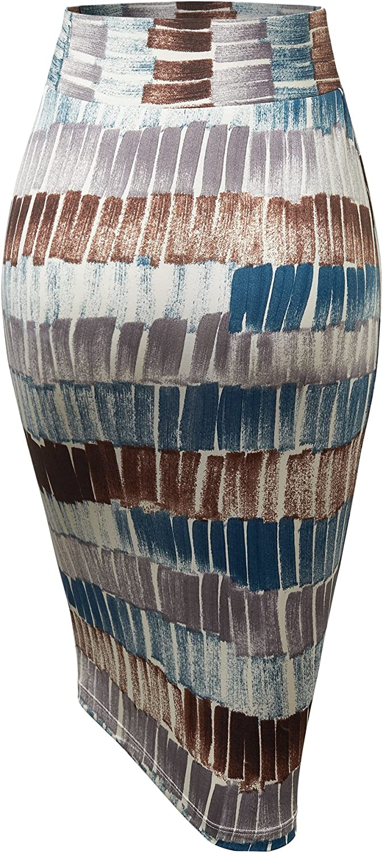 WB1304 Womens Print Midi Pencil Skirt XL Teal/_Brown