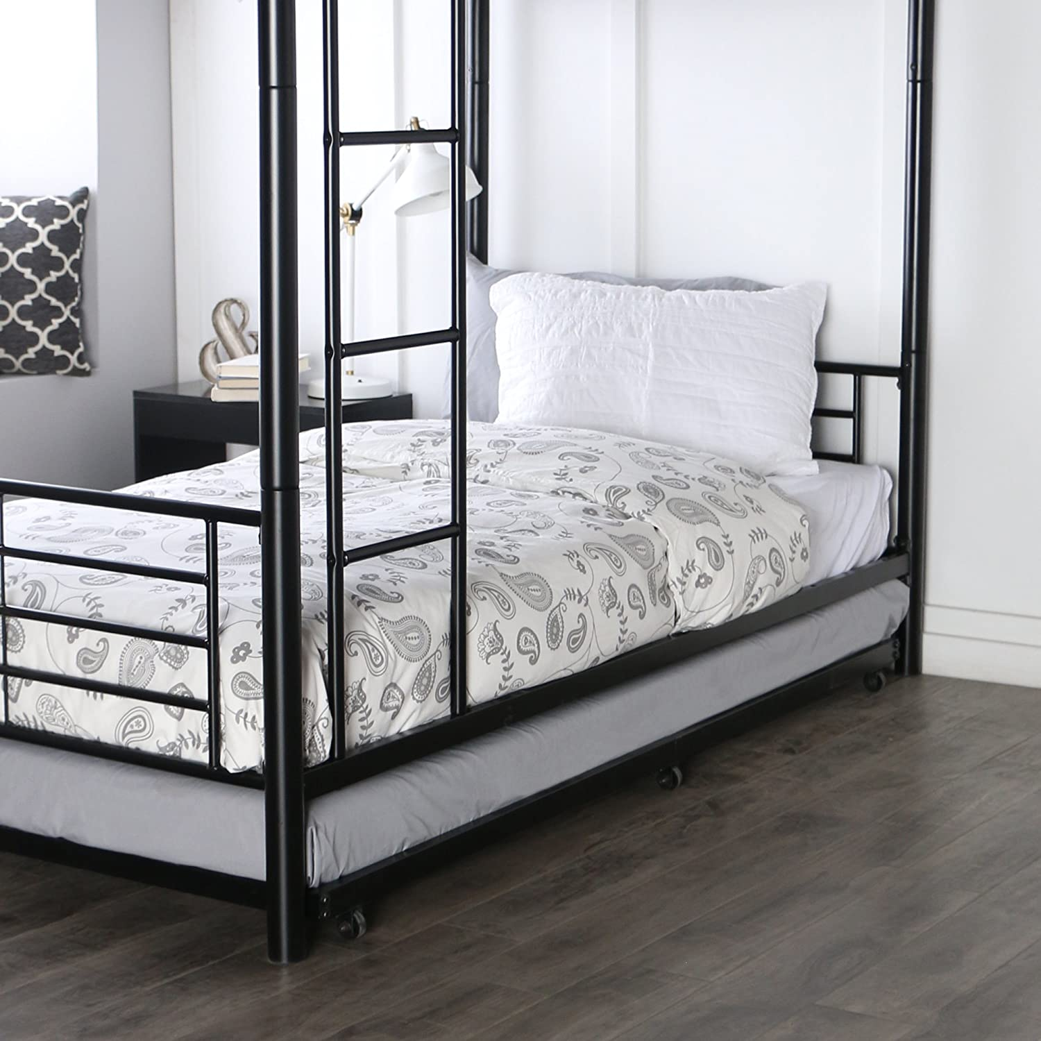 Amazon Walker Edison Twin Roll Out Trundle Bed Frame Black Kitchen Dining