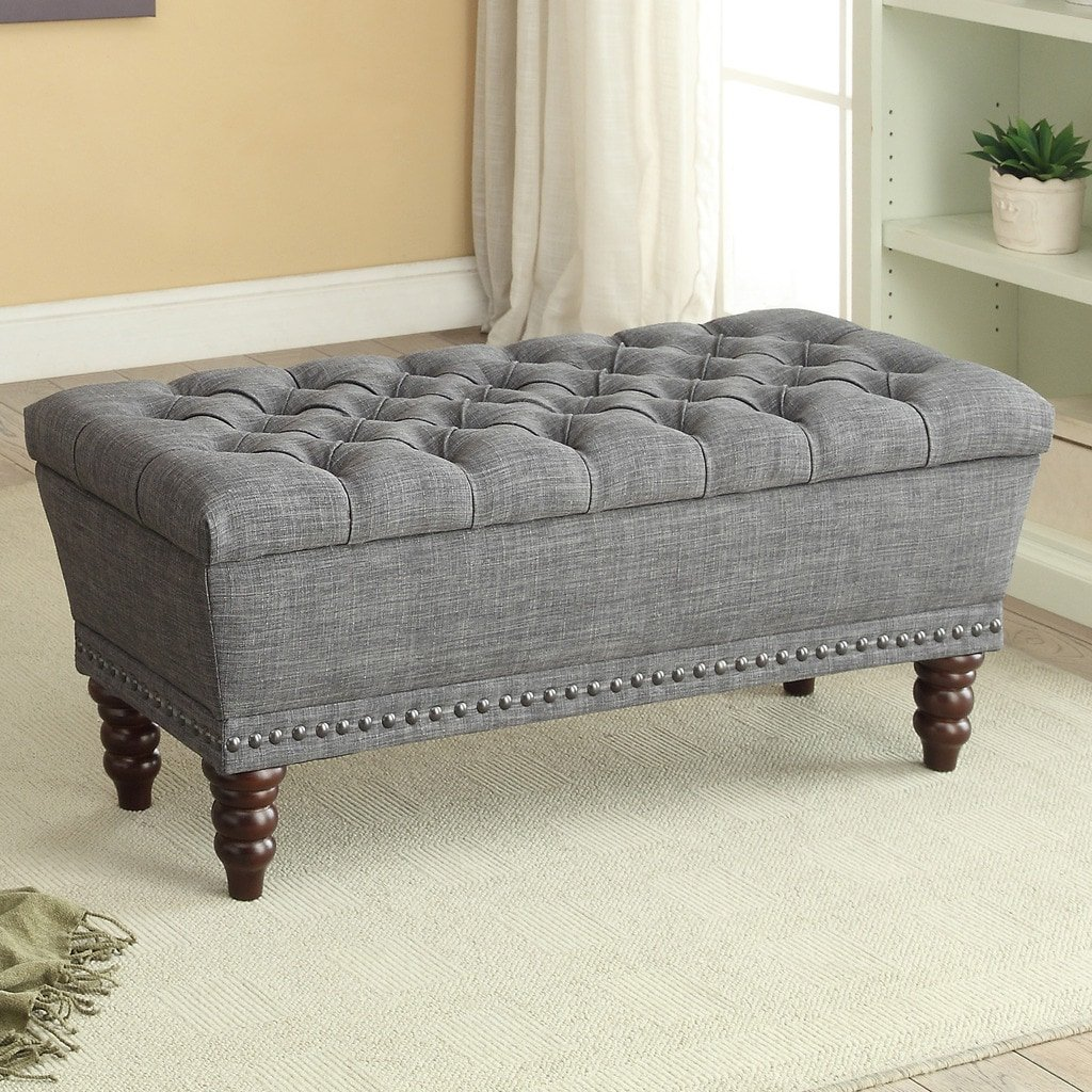 Worldwide Homefurnishings Inc. Hampton Linen Tufted Storage Bench Grey