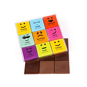 Moodibars Chocolate Candy Variety Pack | 18 Gourmet Assorted Milk & Dark Mini Samplers for Office | Emoji Get Well Fun & Humor Food Gift Hamper | Valentines Day, Holiday, Thanksgiving & Birthday Gifts