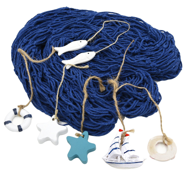 HOGAR AMO Nautical Fish Net Mediterranean Style Fishing Net with 6 Sea Shells for Photo Display, Bedroom, Party, Home Beach Theme Decoration 2 x 1.5m Blue JK00062-01@#JL