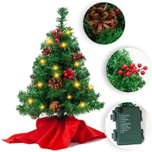 "JOYIN 22"" Prelit Tabletop Mini Christmas Tree with Holly Berries and Pine Cones, 100 Branch Tips & Warm White LED Lights in Red Cloth Bag for Best Home and Office Christmas Decorations"