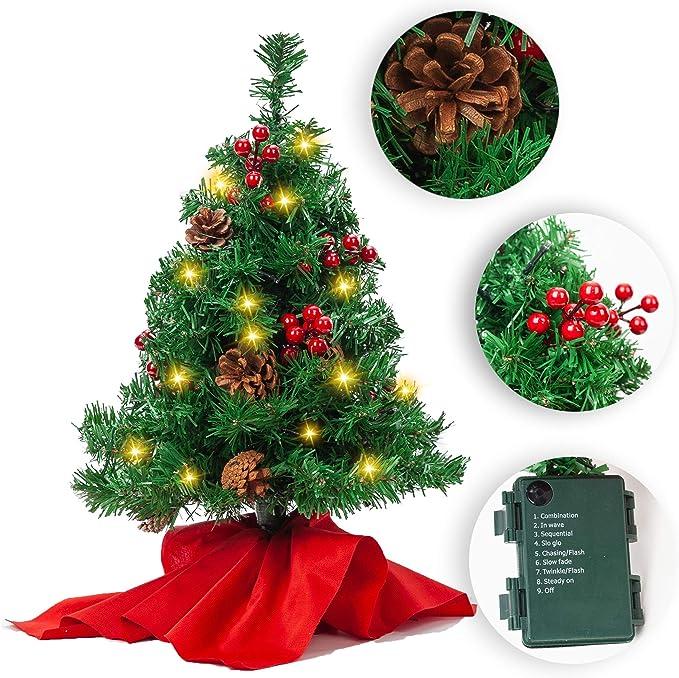 JOYIN Mini árbol de Navidad de 50cm, Mini árbol de Pino de Navidad Artificial con Luces decoración navideña para la Mesa del hogar: Amazon.es: Juguetes y juegos