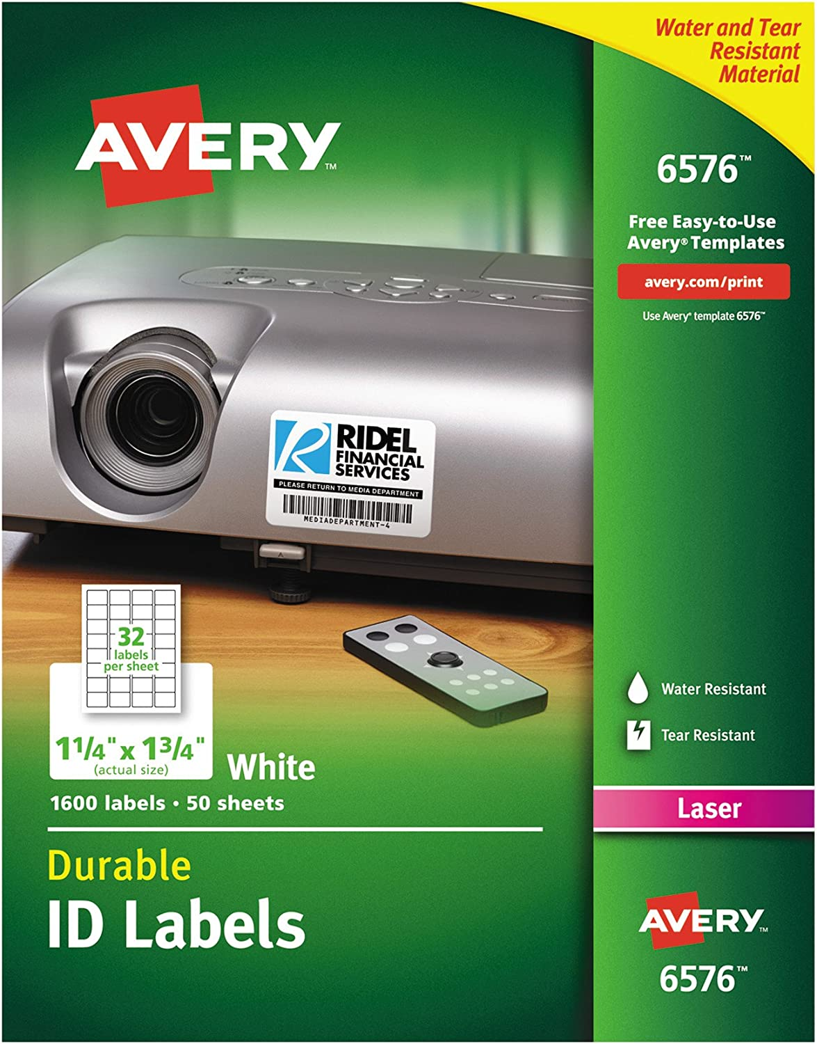 "Avery Durable White Cover up ID Labels for Laser Printers, 1.25"" x 1.75"", Pack of 1600 (6576)"