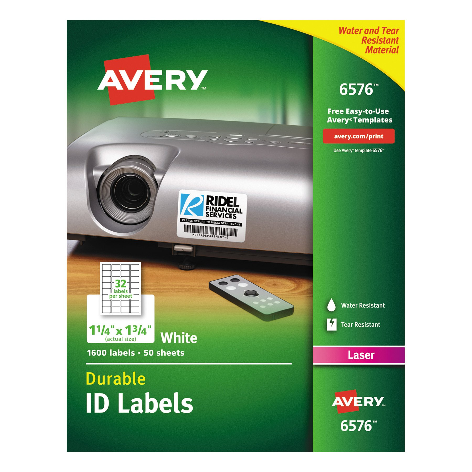 Avery Durable White Cover up ID Labels for Laser Printers, 1.25'' x 1.75'', Pack of 1600 (6576)
