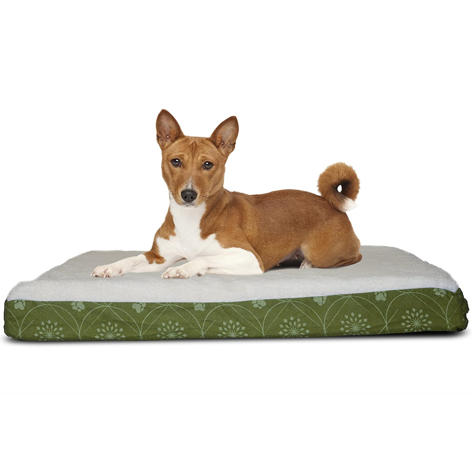 FurHaven Pet Dog Bed   Deluxe Orthopedic Faux Sheepskin Mattress Pet Bed for Dogs & Cats, Jade Green, Medium