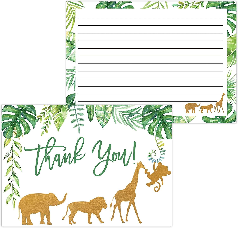 정글 베이비 샤워 감사 카드 소년 아기 엄마 곰 베이비 샤워 호의 원숭이 코끼리 기린 베이비 샤워 20 감사 카드와 봉투