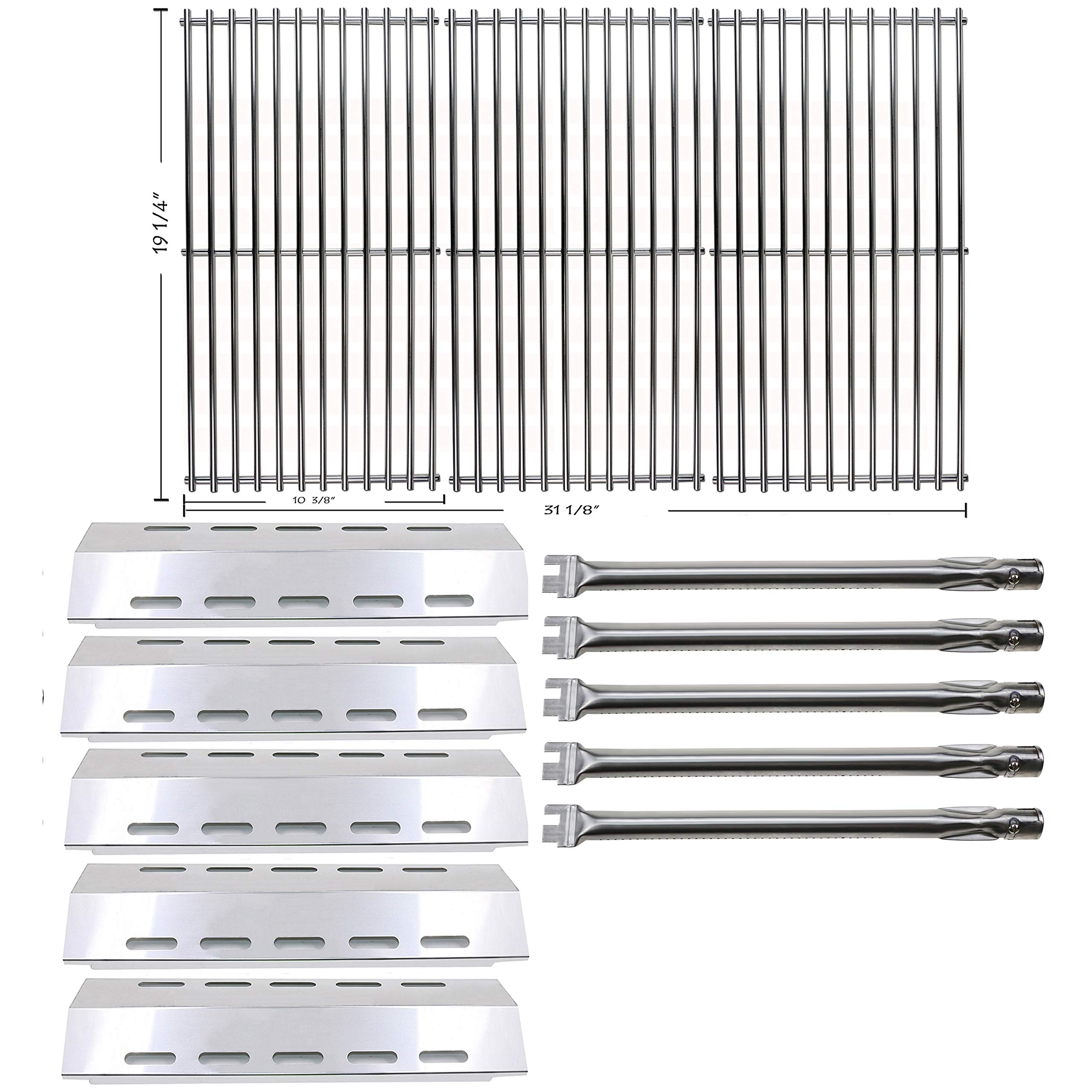 Hisencn Repair kit Replacement for Ducane 30400042,30400043,30558501 Gas Stainless Steel Grill Burner Tupe,Heat Plates Tent Sheild,Cooking Grid Grates