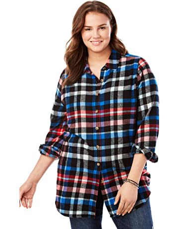 0fe8b83a4c5ca2 Woman Within Women's Plus Size Classic Flannel Shirt