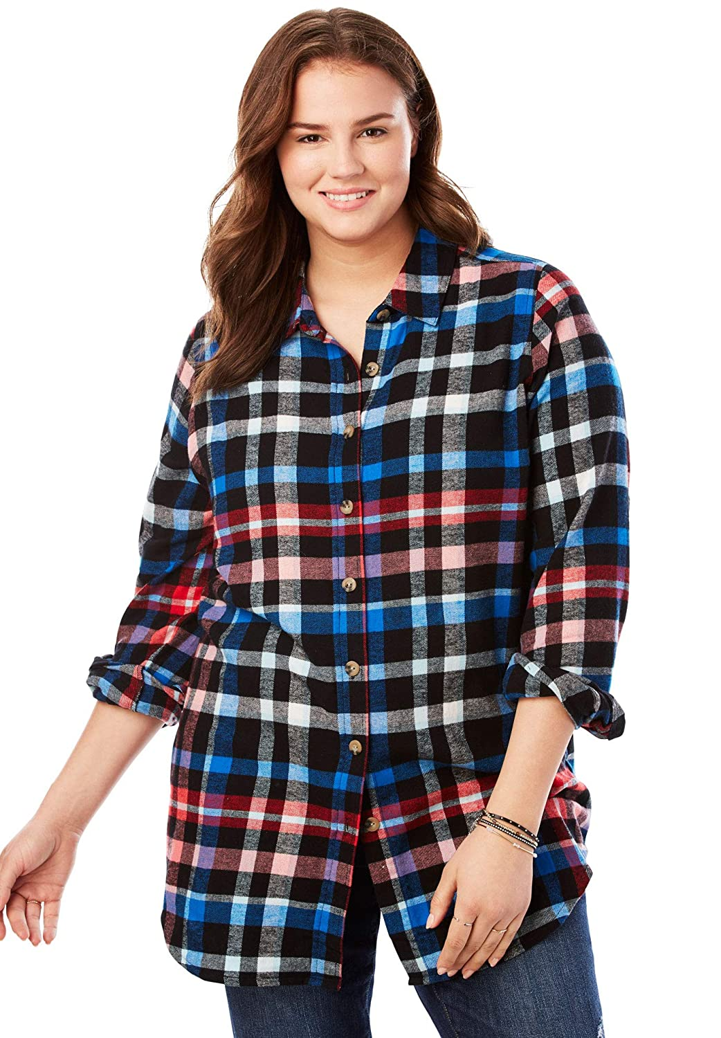 Woman Within Plus Size Classic Flannel Shirt Black Multi