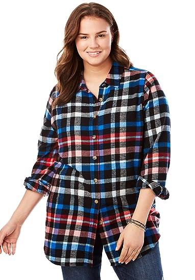 025ebd7f542 Woman Within Women s Plus Size Classic Flannel Shirt - Black Multi Plaid