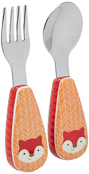 Pink Munchkin BPA Free Baby//Toddler Grippy Handles Fork//Spoon Cutlery Set Age 1