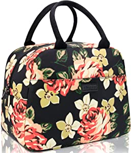 Lunch Bags for Women, HSicily Insulated Lunch Box Lunch Tote Bag Durable Thermal Lunch Bag for Work School Picnic Travel Beach (Peony)