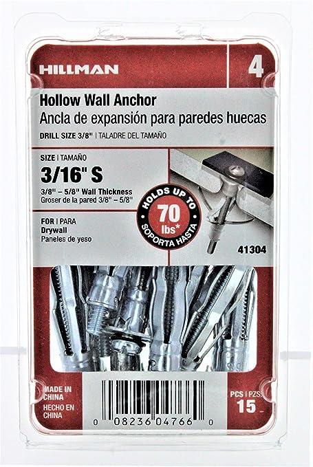 "Hillman Hollow Wall Anchors 3//16/"" Asst Sizes /& quantities FREE SHIPPING"