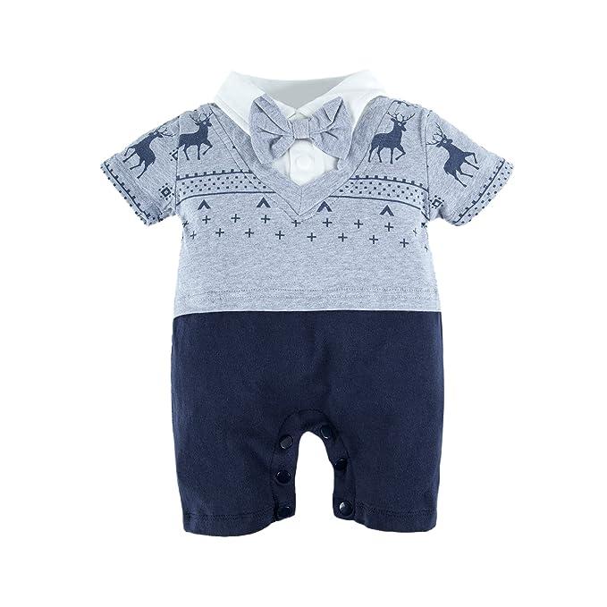 BIG ELEPHANT Pijama Onesie de manga corta para niños con corbata O49