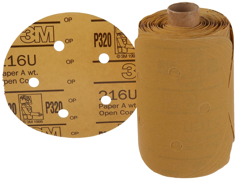 5 Diameter Aluminum Oxide P320 Grit 5 Diameter 3M Stikit Gold Paper D//F Disc Roll 216U Roll of 175