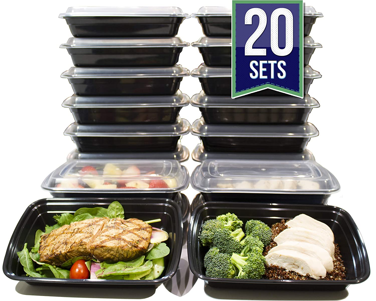 [20 Pack] 24 Oz. Meal Prep Containers BPA Free Plastic Reusable Food Storage Container Microwave & Dishwasher Safe w/Airtight Lid For Portion Control & Bento Box Lunch Box Misc Home B01BY9YV46