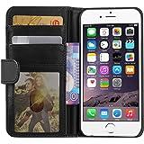 iPhone 6S Hülle iPhone 6 Hülle, EnGive Ledertasche Schutzhülle Case Tasche mit Standfunktion und Karte Halter für iPhone 6 6s (schwarz)