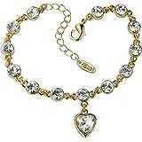 Cœur en cristal Plaqué or et strass Bracelet chaîne de grande qualité