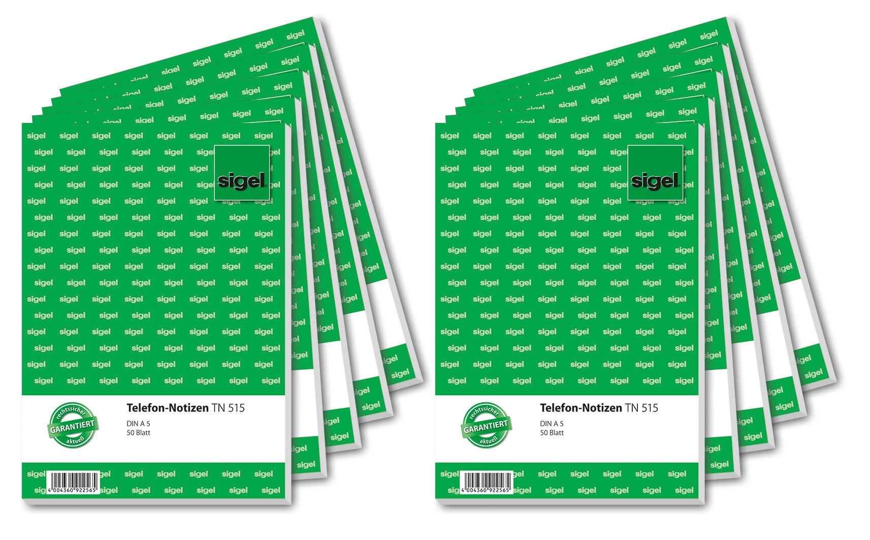 Sigel TN515 A5 Telephone Notepad / 10x 50-Sheet Pads (German Language)
